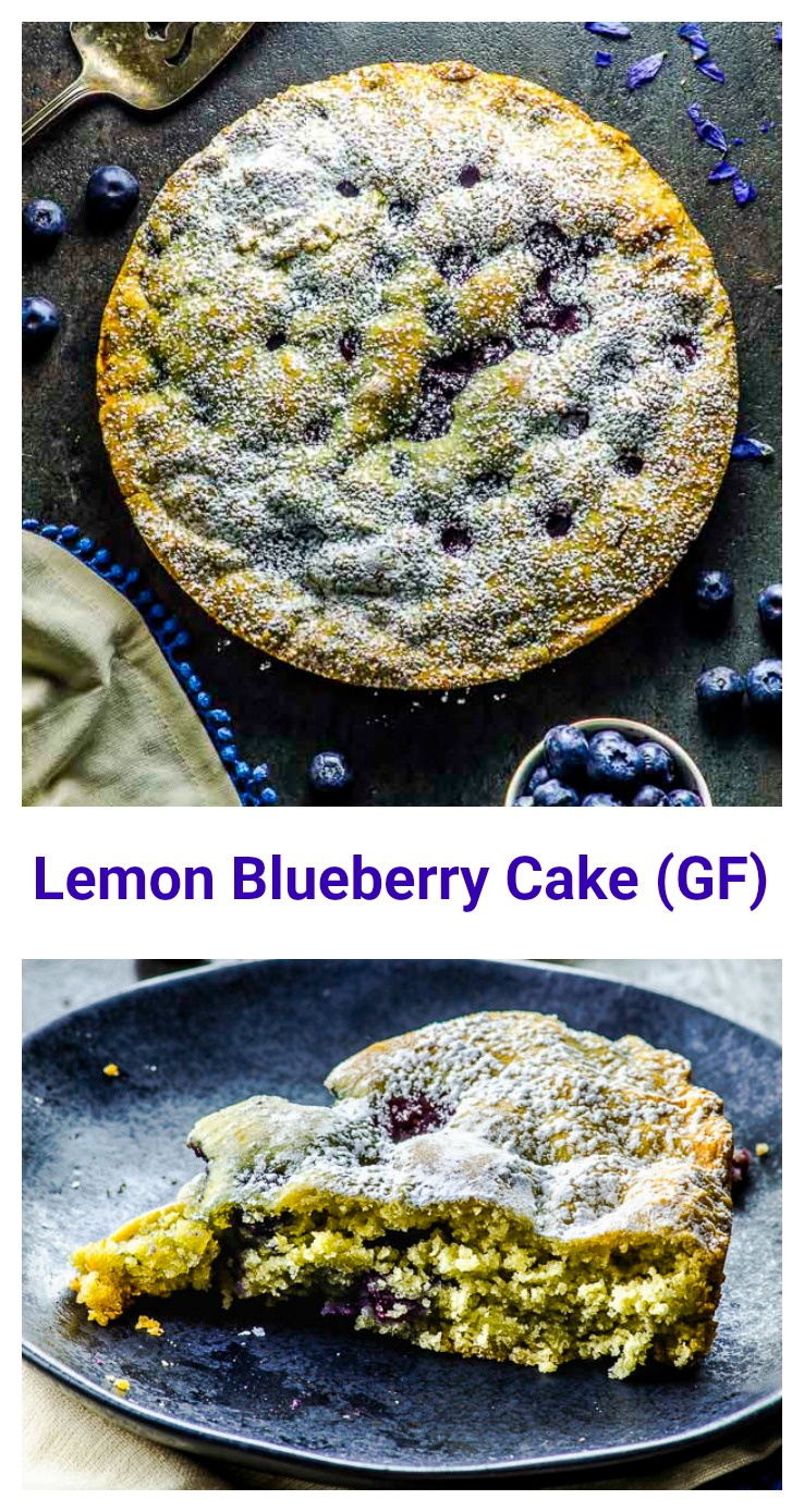 Our gluten-free Lemon Blueberry Cake does double duty – delivering lemony brightness and dense sweet blueberries in a beautiful almond cake that is perfect for Passover, Easter, or other special occasions. #passover #easter #cake #dessert #glutenFree #blueberries #lemon