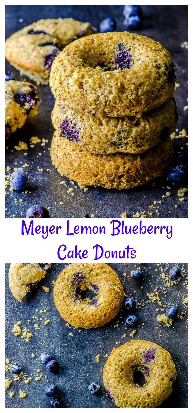 Delicious vegan cake donuts that combine the bright sweetness of Meyer lemons with juicy blueberries without the oil of traditional fried donuts