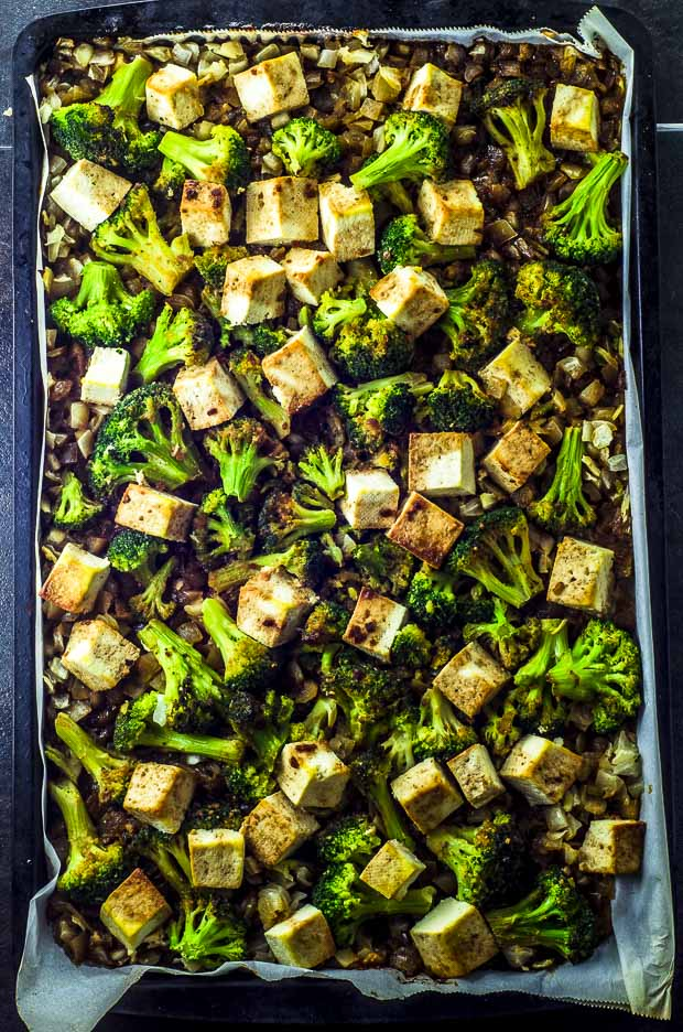 Birds eye view on the Sesame Teriyaki Tofu and Roasted Broccoli Sheet Pan Dinner, on the sheet pan