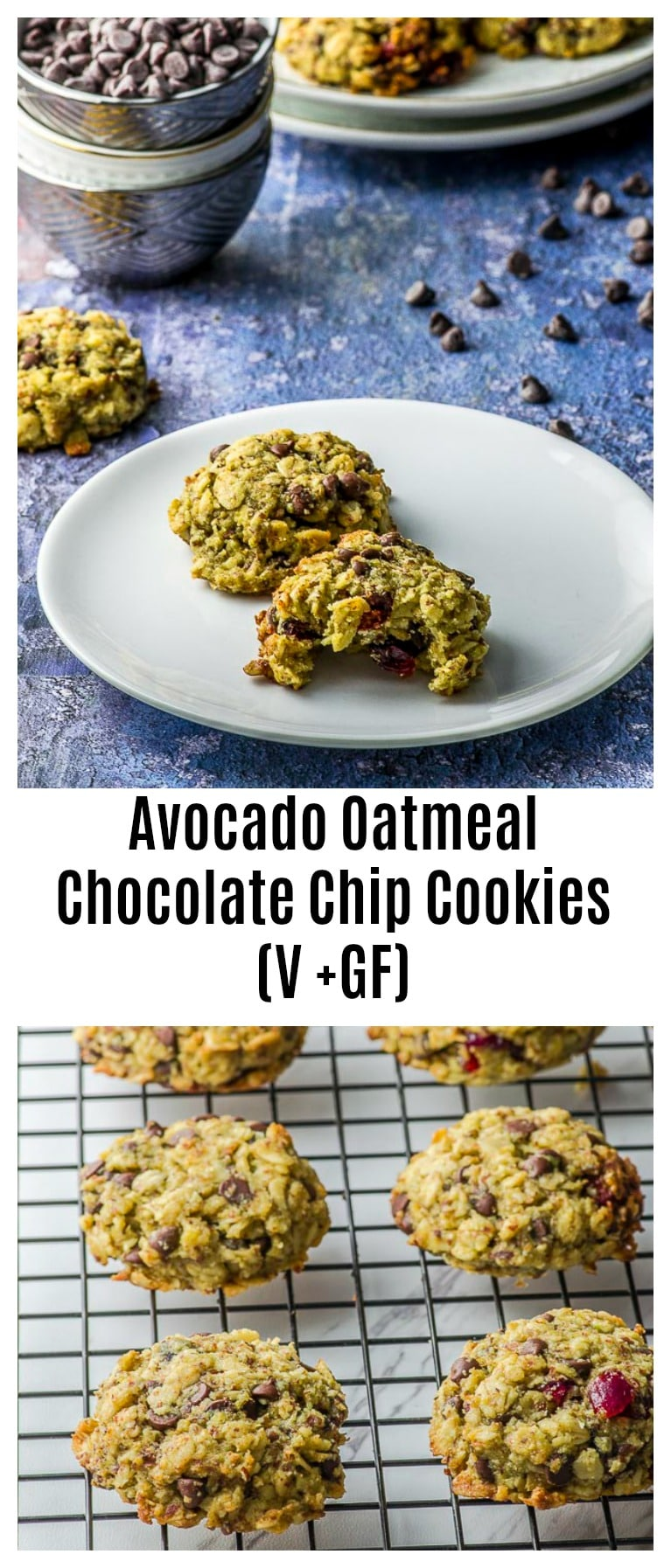 Soft, chewy and buttery, these vegan, gluten free Avocado Oatmeal Chocolate Chip Cookies are everything you crave in a cookie, and we're sneaking in some healthy fats in them! As easy as 2 bowls and 30 minutes from start to finish.#cookies #Vegan #GlutenFree #breakfast #healthy #avocado