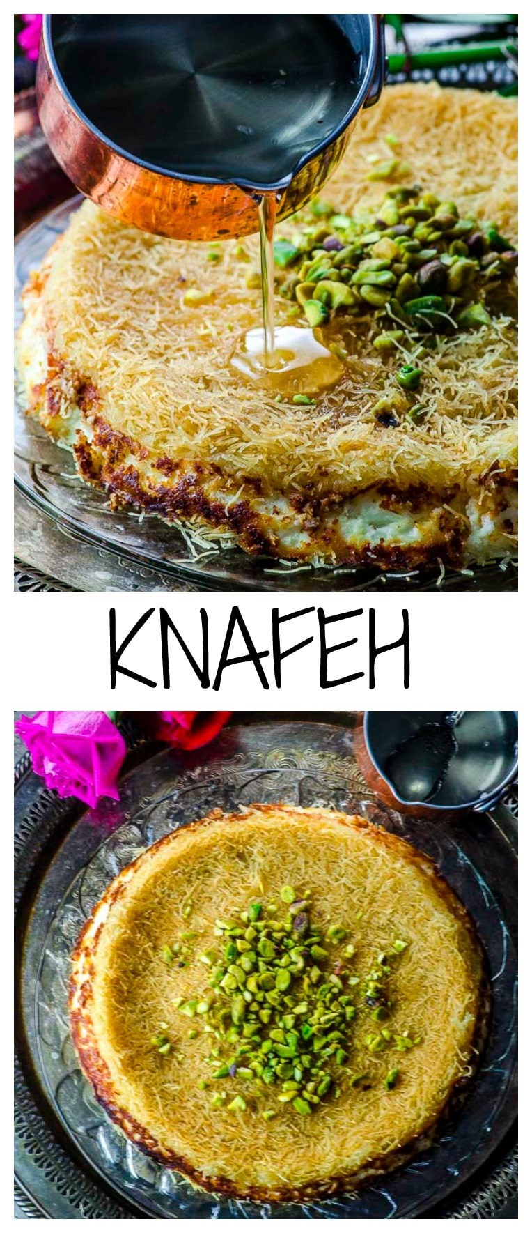 Sweet and incredibly delicious, Knafeh (ka-nee-fah) features shredded phyllo dough, ricotta, and mozzarella to create an fascinating dessert swimming in orange-blossom syrup. #dessert #kanafeh #Ricotta #Shavuot