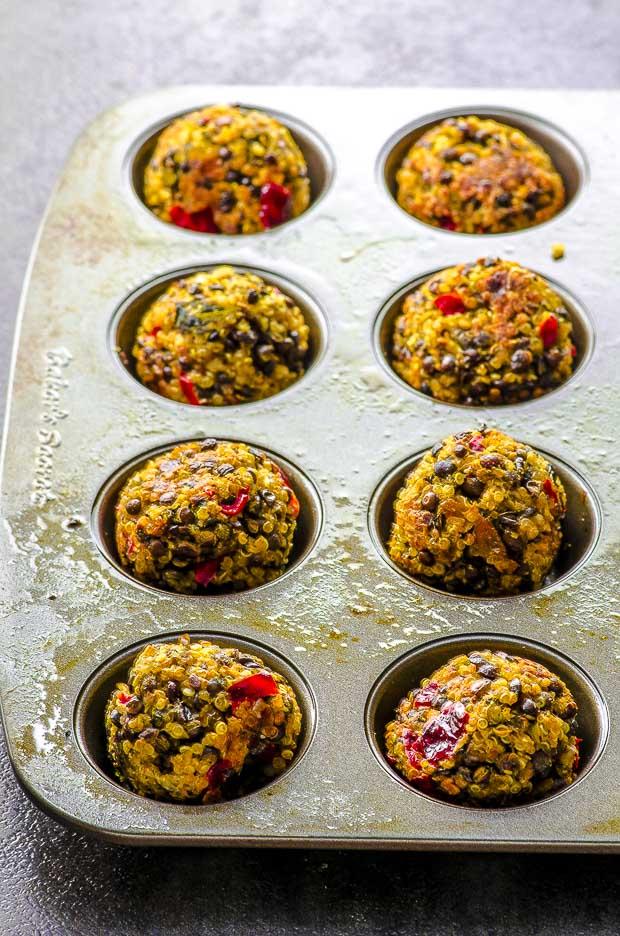 quinoa lentil meatballs in a mini muffin tin