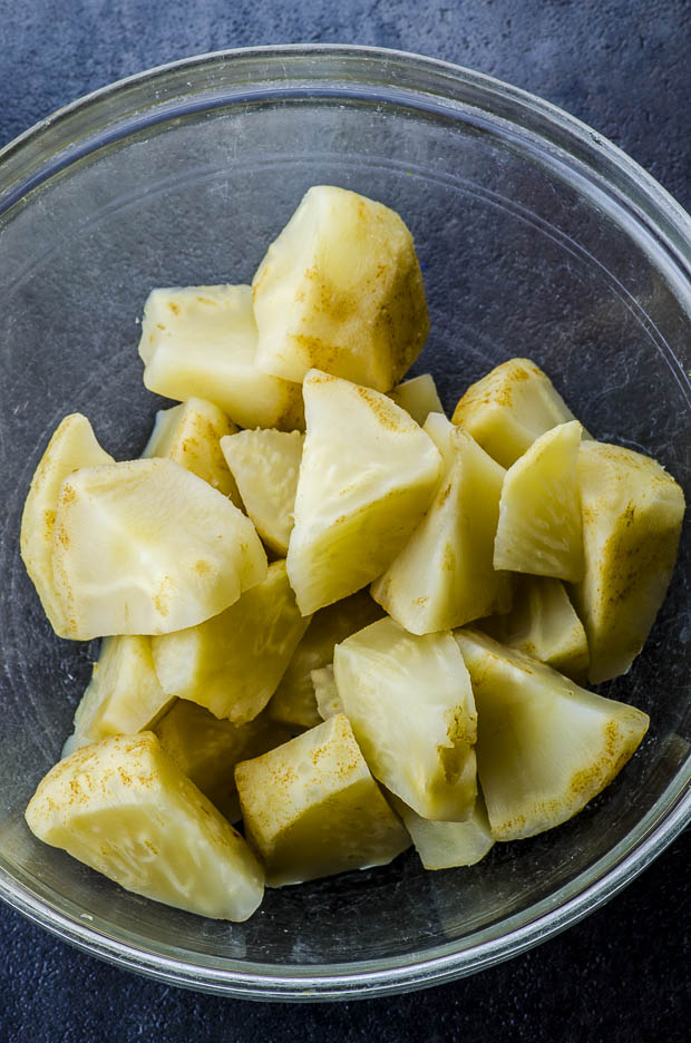 A celeriac ( celery root) cooked
