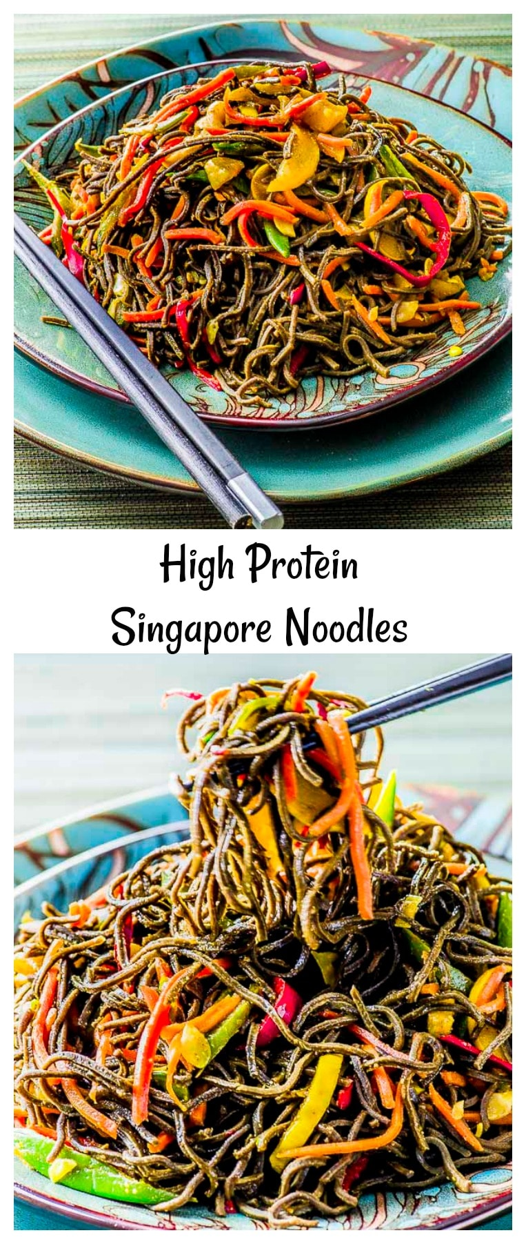 Delicious, exotic, and beautiful -- our recipe for gluten-free Singapore Noodles uses black bean vermicelli-style pasta, curry, and jewel-toned vegetables to create a wonderful interplay between light and dark. #protein #pasta #dinner #black beans #noodles #Sinpagore Noodles #vegan #gluten Free