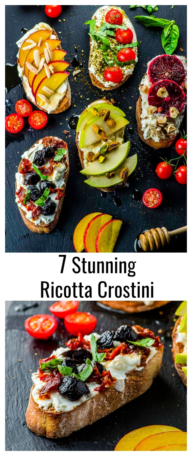 Our Ricotta Crostini Recipe is a great example of how decadent a humble slice of bread with good ricotta cheese can be! #crostini #vegetarian #breakfast #Appetizer #summer #ricotta