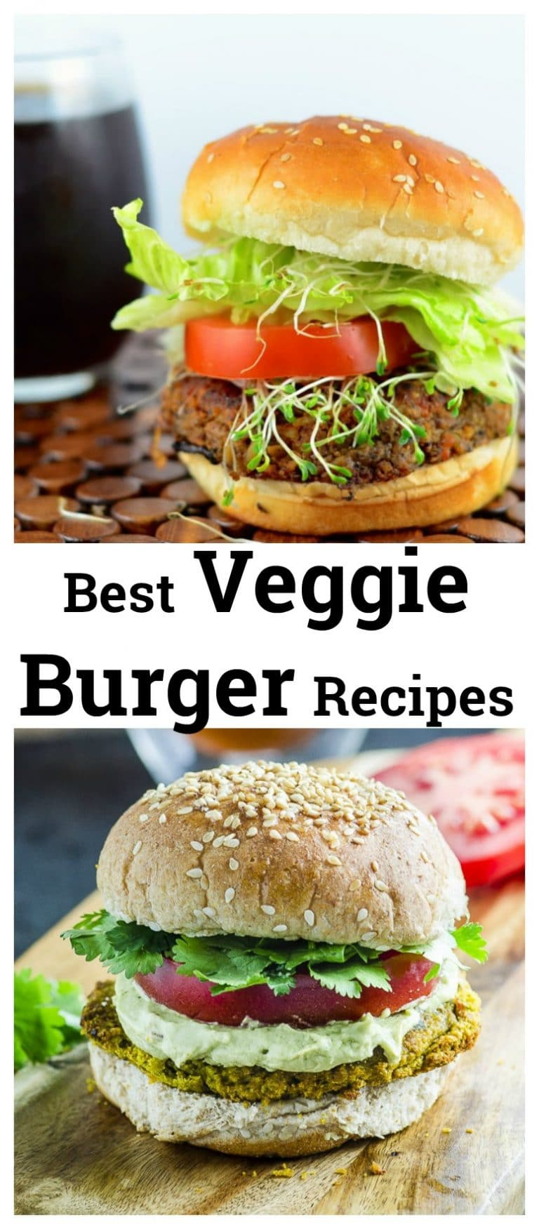 We have gathered our best Veggie Burger Recipes for you. From our super popular Black Bean Veggie Burger to our tasty Chickpea and Beet veggie burger and our satisfying Falafel Veggie Burger with Tahini Cream.  All super flavorful and nutritious, to guarantee you won't miss the meat! #veggie Burger #vegan #sandwich #BBQ