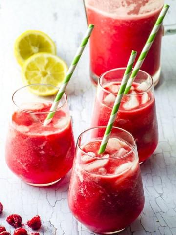 Date Sweetened Raspberry Lemonade