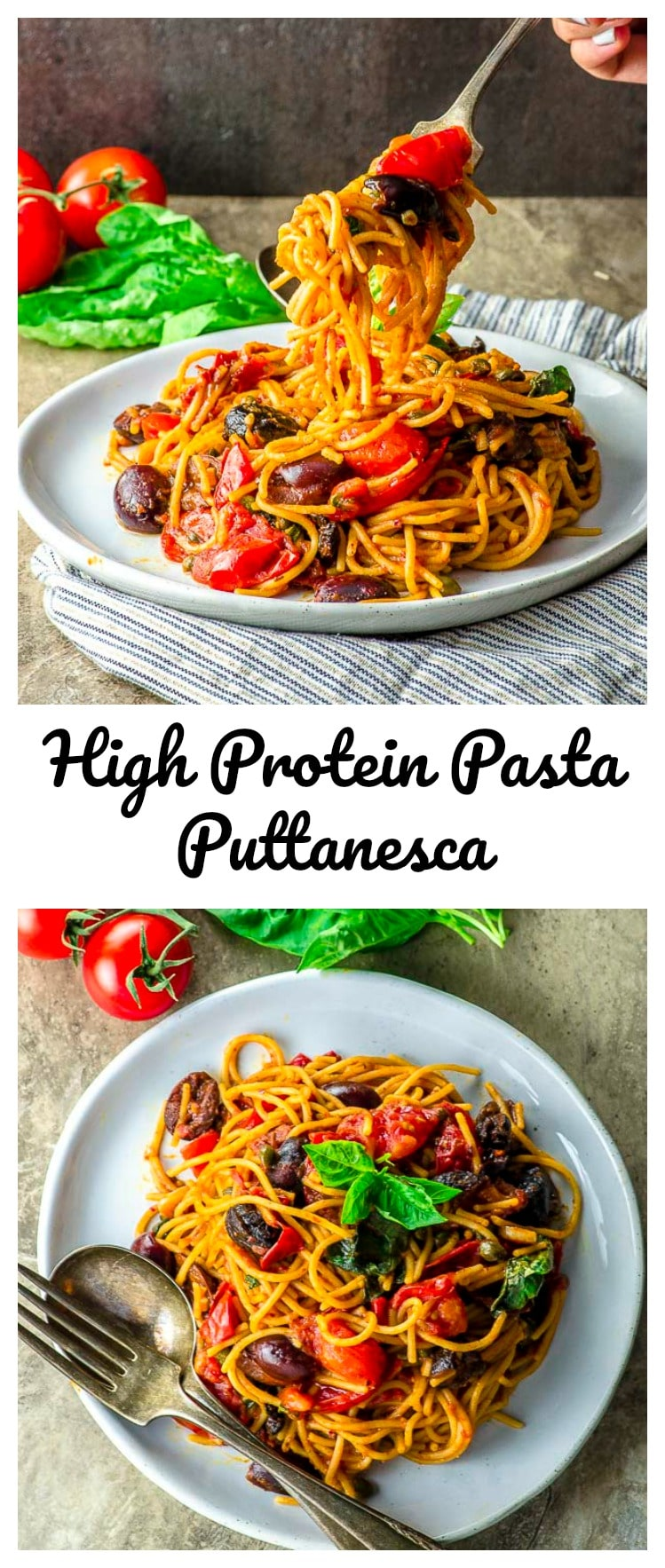 This quick and easy high-protein pasta puttanesca dish evokes the warmth and passion of Sicily without the airfare and crowds and makes an incredible meal when paired with a fresh green salad.@explorecuisine #protein #pasta #vegan #vegetarian #dinner #summer #Ad