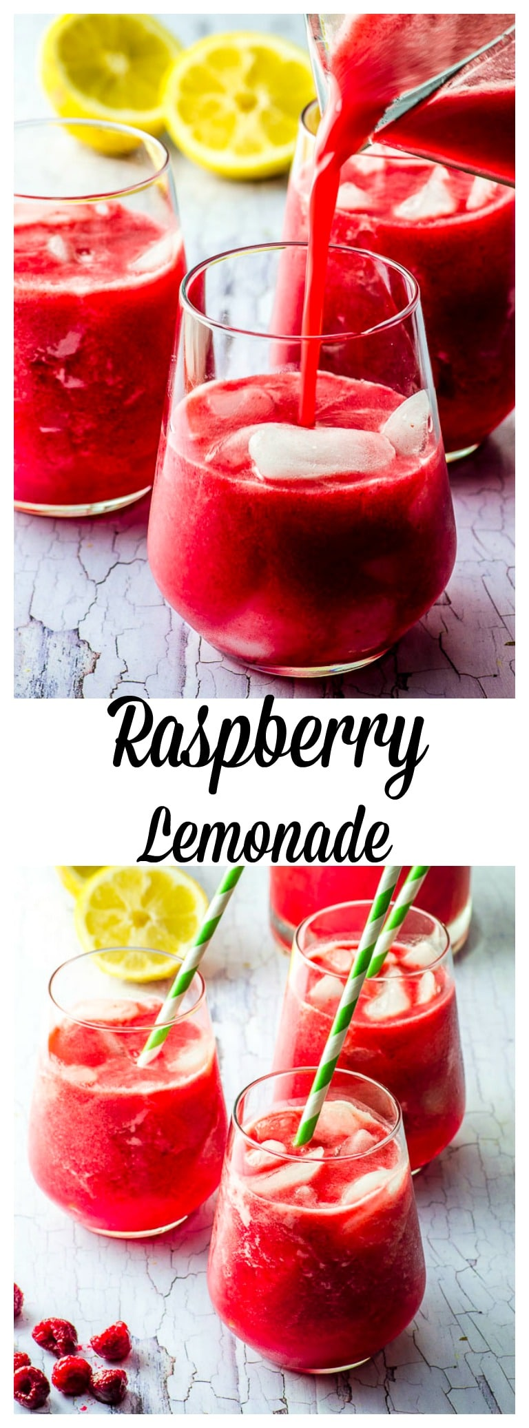 This Summer, make a batch of our Raspberry Lemonade – a sophisticated thirst-quencher that pairs naturally-sweetened lemonade with juicy red raspberries for a delicious Summer drink enjoyed as is, or with a splash of bourbon! #drink #summer #lemonade #raspberry #Naturally Sweetened #dates #vegan