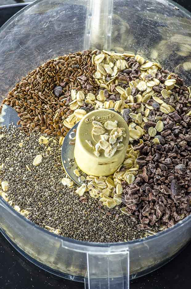 Ingredients for No bake peanut butter energy bites in a food processor