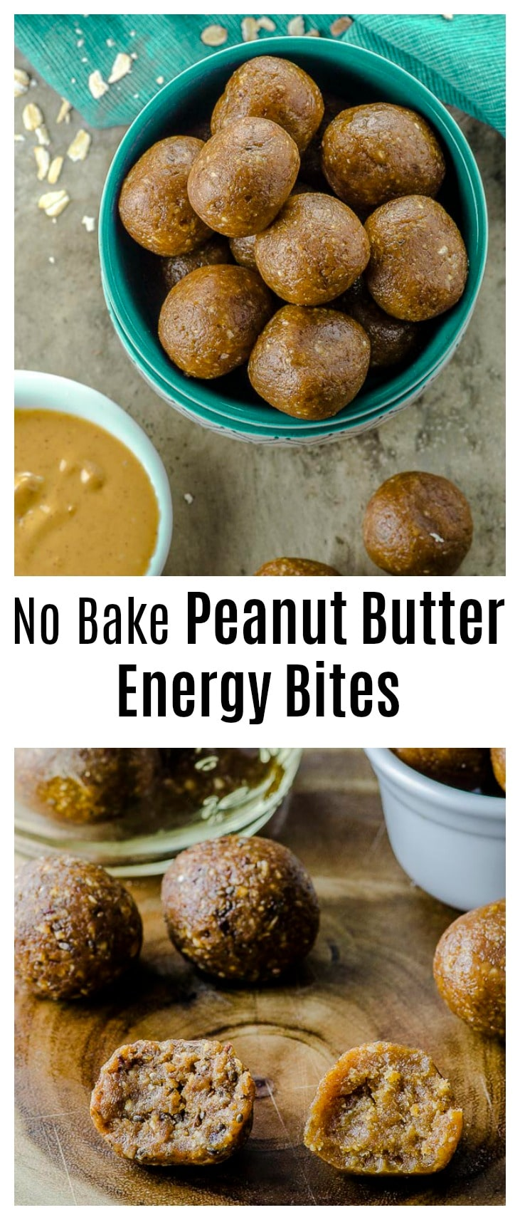 Our No-Bake Peanut Butter Energy Bites are packed with nutrients, power, and flavor! Great for school lunches and as a post-workout snack. #snack #peanut butter #energy Bites, #energy #vegan #post-workout #dates #healthy #all-natural