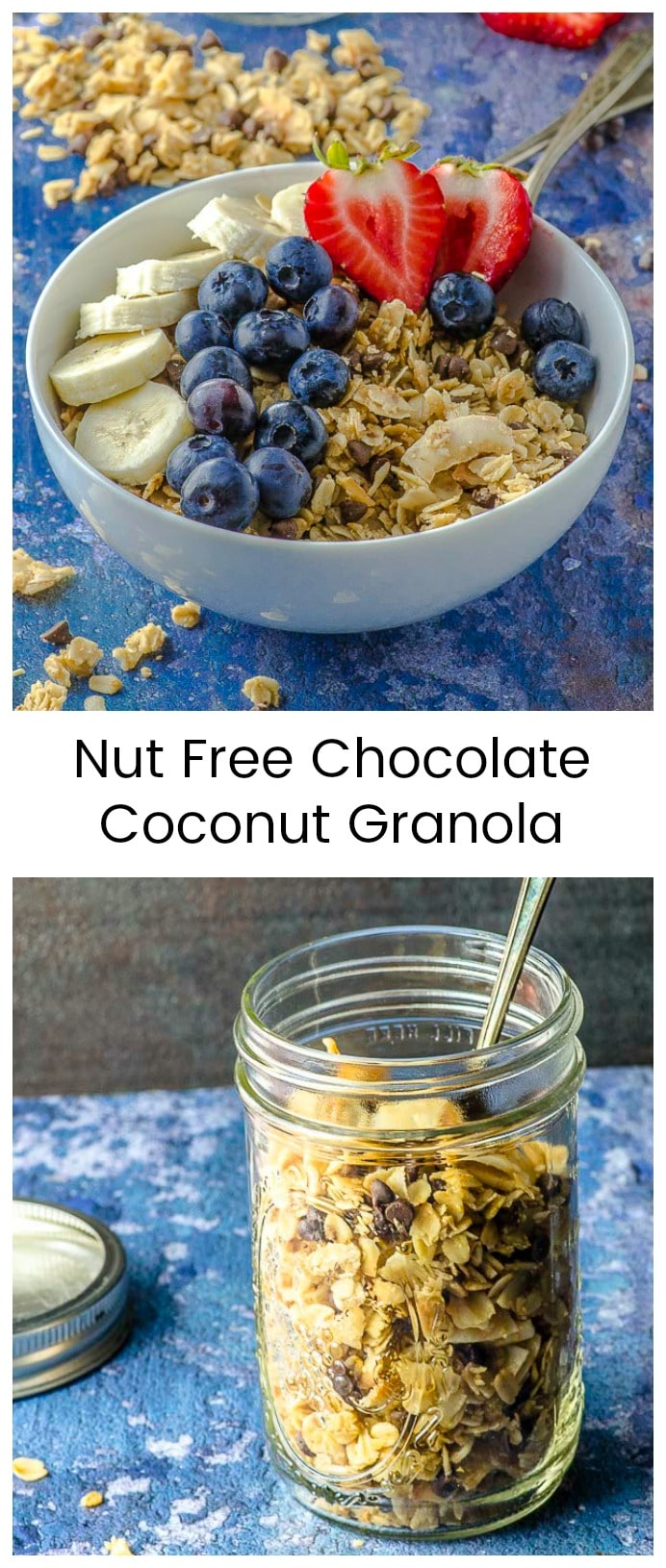 Six ingredients are all you need to make this insanely addictive and delicious nut-free t chocolate coconut granola recipe. #breakfast #granola #nut-free #Gluten-free #coconut # chocolate