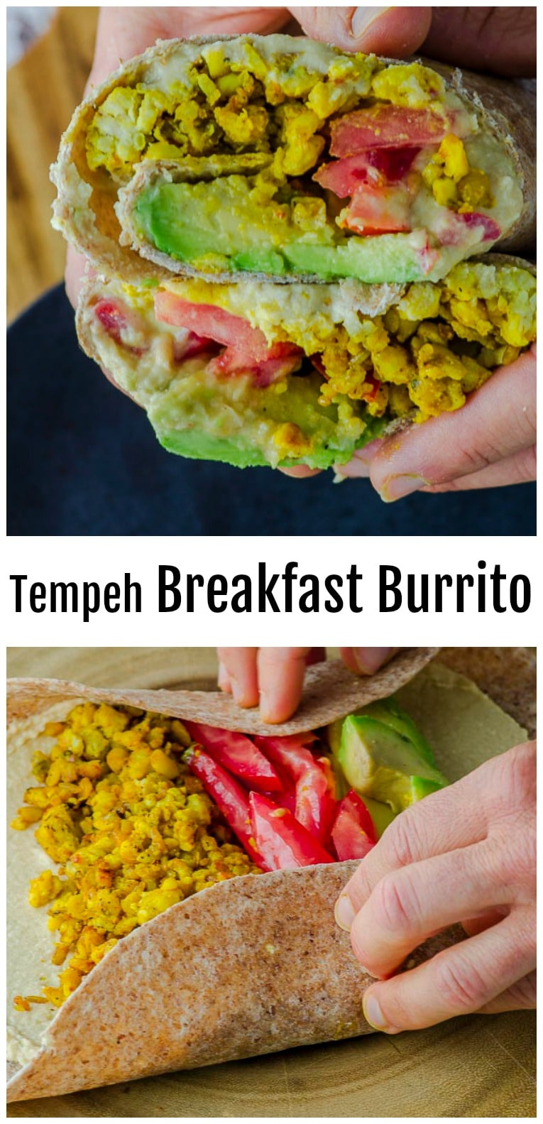 Loaded with plant-based protein, this breakfast burrito will keep you full and energized all morning. Prepare the tempeh the night before, and you can have a grab-and-go breakfast ready in less than 15 minutes! #vegan  #Breakfast  #burrito #tempeh #avocado #healthy #recipe