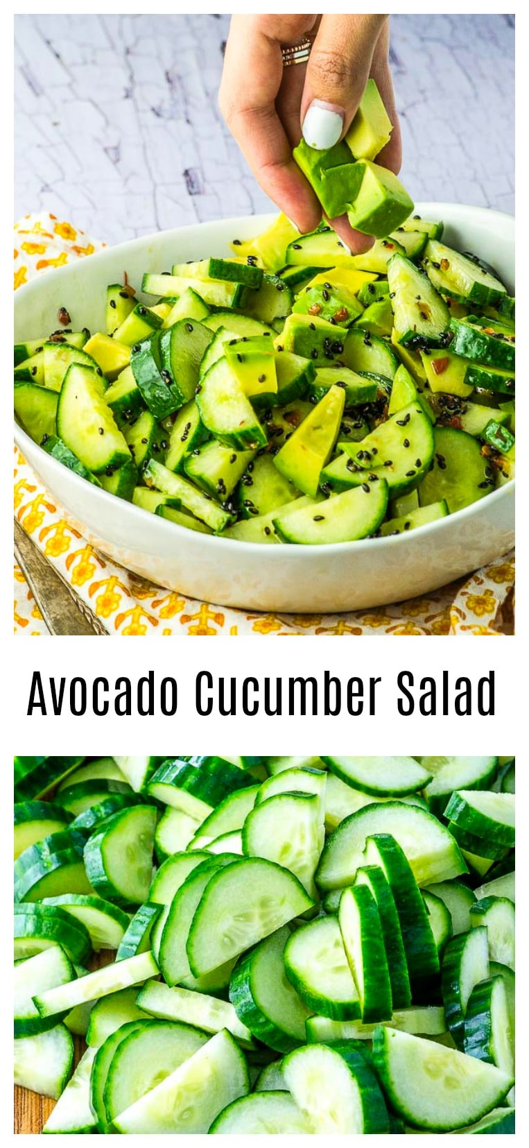 This cucumber salad is cool, refreshing, and easy to prepare, making it a great side for barbecues, sandwiches, and outdoor picnic meals. #salad #cucumbers #Side #vegan #avocado