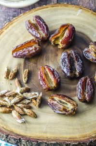 pitted dates for Halva Stuffed Dates Dipped in Chocolate recipe
