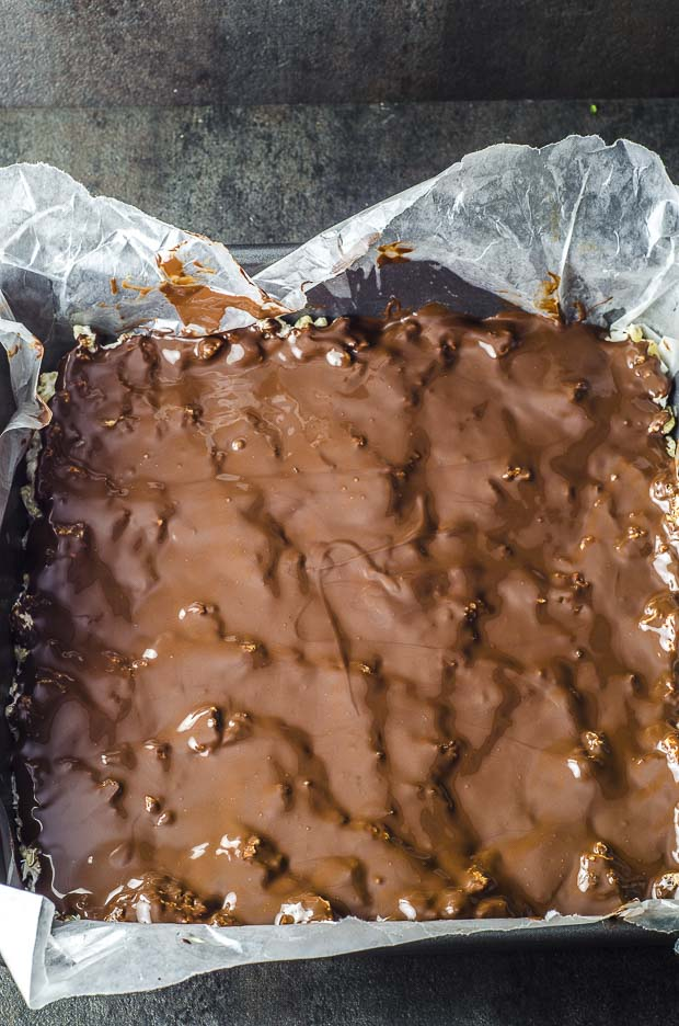 Close up of the melted chocolate on top of the rice crispy treats