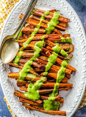 Chili Roasted Carrots with Avocado Cilantro Dressing