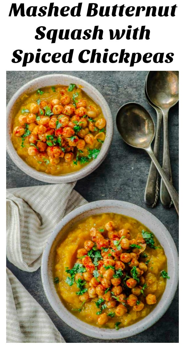 Birds eye view of two bowls of Mashed Butternut Squash with Spiced Chickpeas