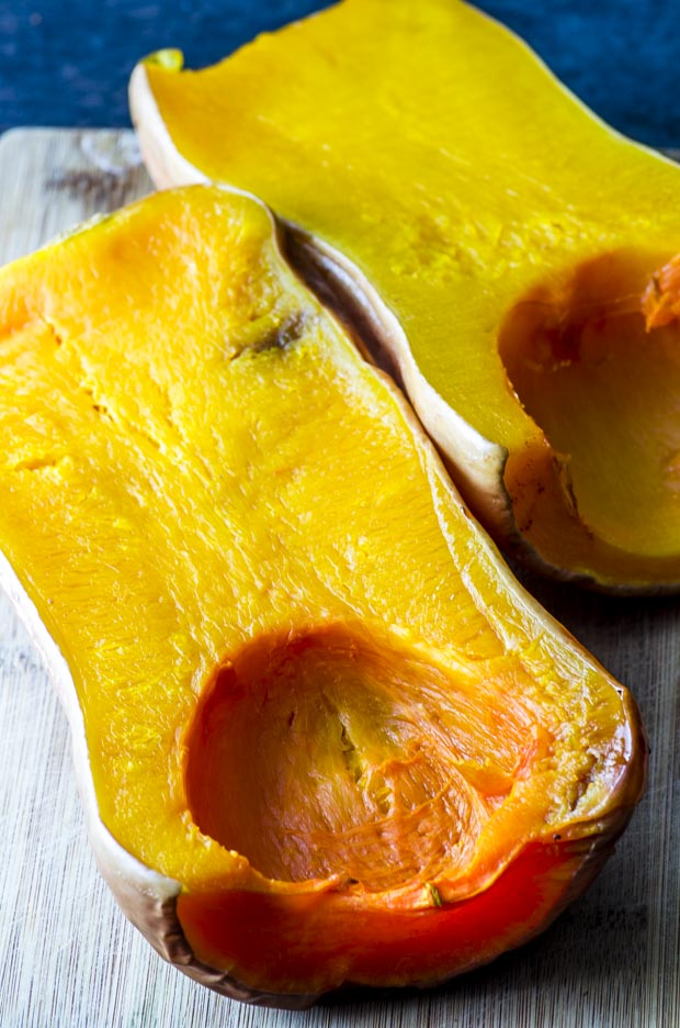 roasted butternut squash sliced in half length wise
