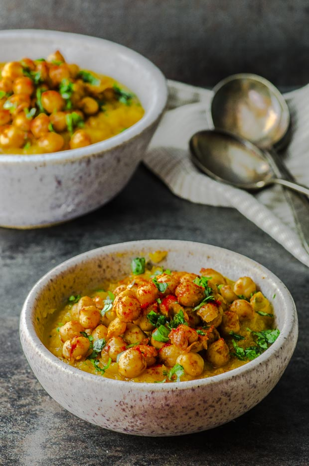 two bowls of Mashed Butternut Squash with Spiced Chickpeas