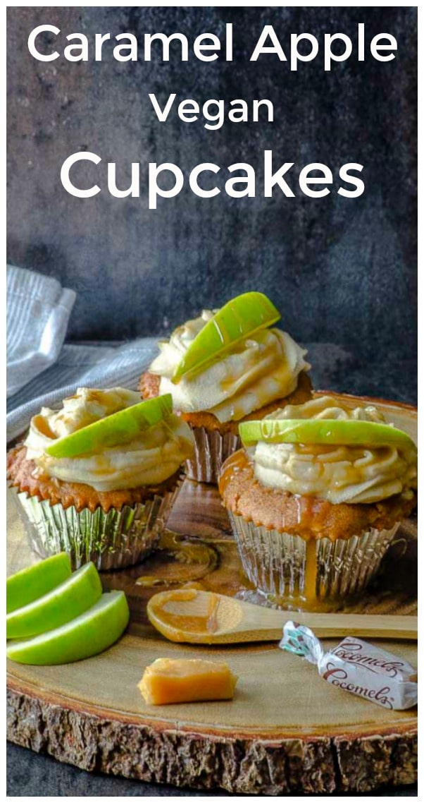 Sweet and delicious, our caramel apple vegan cupcakes are perfect for autumn picnics, tailgate and football parties, and anytime that your family is looking for a fall apple treat. #vegan #cupcake #caramel #dessert #fall #recipe #apple