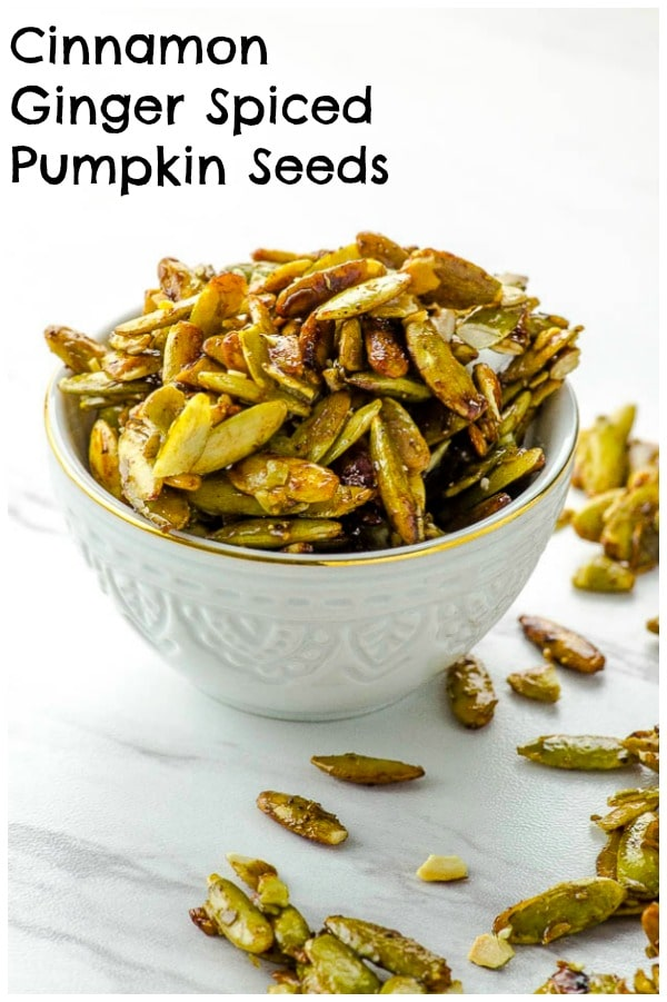 Set a bowl of these delectable spiced pumpkin seeds on your bar orhorsd'oeuvrestable and watch as they magically disappear. #snack #healthy #recipe #vegan #seeds #nut-free #gluten-free #pumpkin seeds #pepitas #cinnamon #ginger