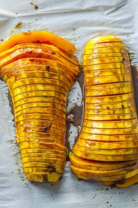 Hasselback butternut squash with balsamic glaze