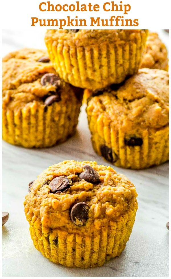 These vegan pumpkin muffins are moist and sweet, and the addition of dark chocolate chips transforms this baked treat into a perfect indulgence for morning coffee or an afternoon snack.  #muffins #Breakfast #vegan #recipe #Pumpkin #Fall #thanksgiving #easy #healthy #chocolate chips
