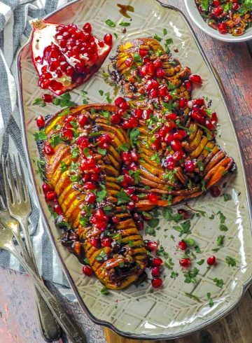 Hasselback Roasted Butternut Squash with Cranberry Pecan Balsamic Glaze