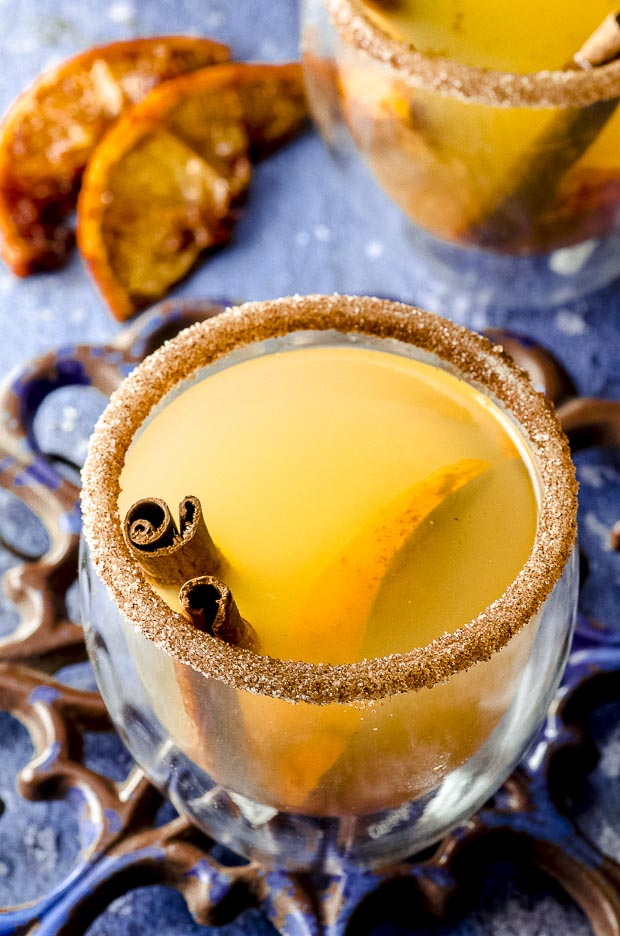 top view of a turmeric ginger hot toddy