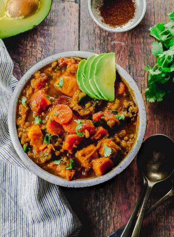 Lentil And Sweet Potato Vegan Chili