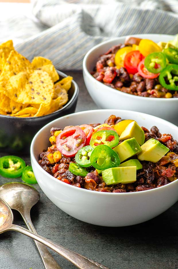 two plates of black bean chili