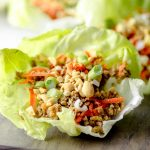 Close up view of a vegan lettuce wrap