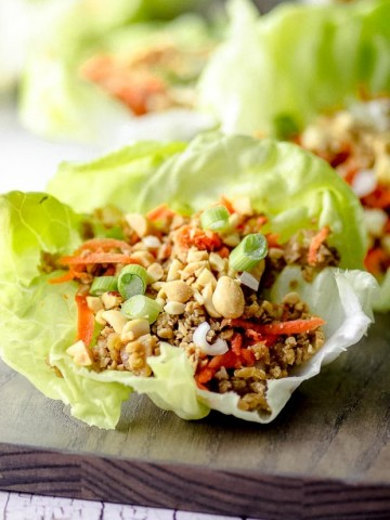 Close up view of a vegan lettuce wrap