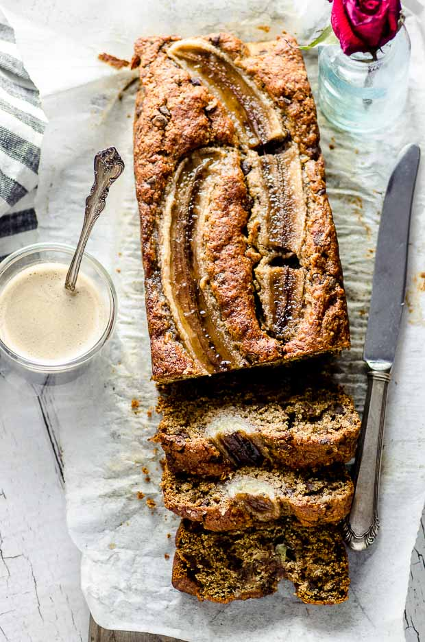 Bird's eye view of a vegan banana bread cut in clices
