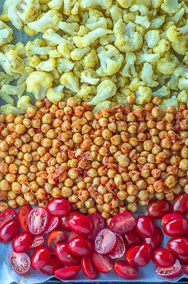 sheet pan for roasted chickpeas and cauliflower bowl