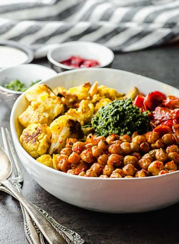 Harissa Roasted Chickpeas And Cauliflower Bowl
