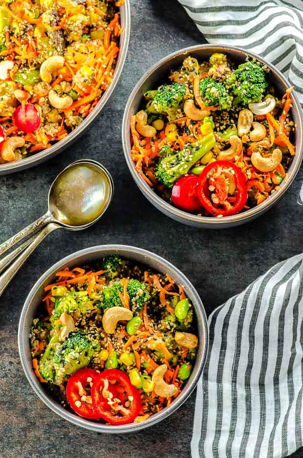 Bird's eye view of a veggie loaded quinoa fried rice