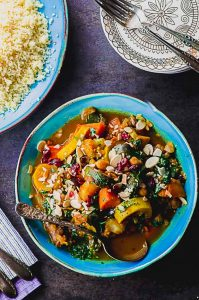 Bird's eye view of a plate of Moroccan vegetable stew