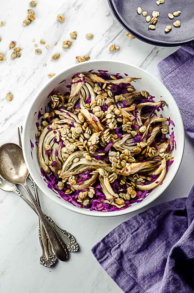Bird's eye view of a red cabbage and roasted fennel salad. One of our vegetarian Passover recipes.