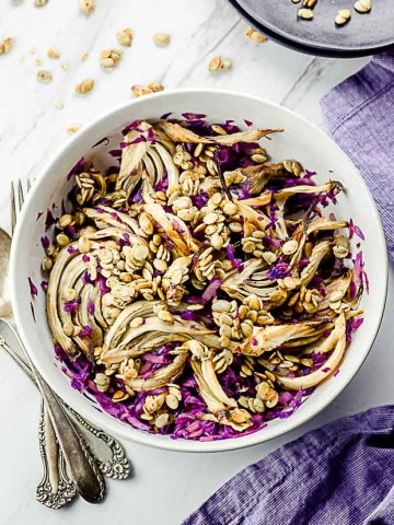 Bird's eye view of a red cabbage and roasted fennel salad
