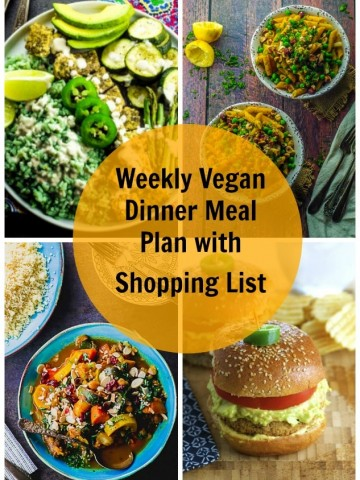 Collage of images of a vegan dinner meal plan