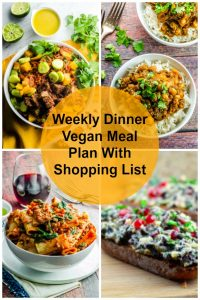 Vegan meal plan with shopping list