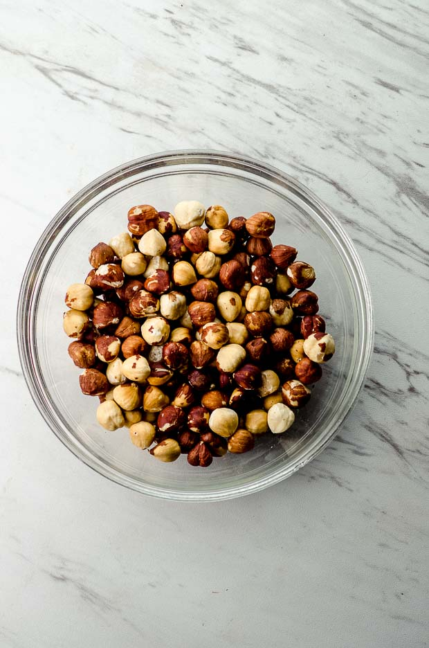 Bird's Eye View of a bowl of roasted hazelnuts