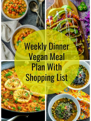 A photo collage of a weekly vegan meal plan