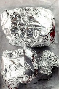 beets and cauliflower in tin foil