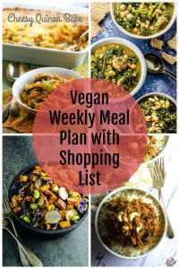 Picture Collage of vegan meal plan