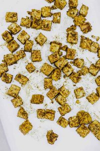 Baked tofu cubes with spices