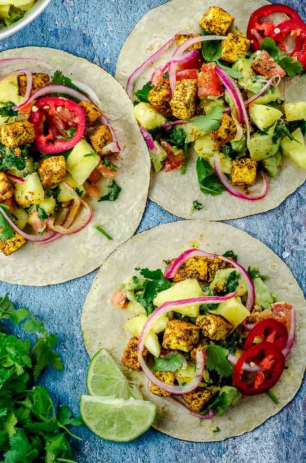 Bird's eye view of vegan tacos al pastor made with tofu