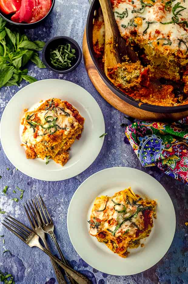 two plates with eggplant lasagna